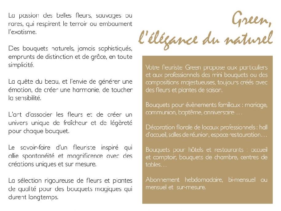 texte de plaquette fleuriste Green Lille