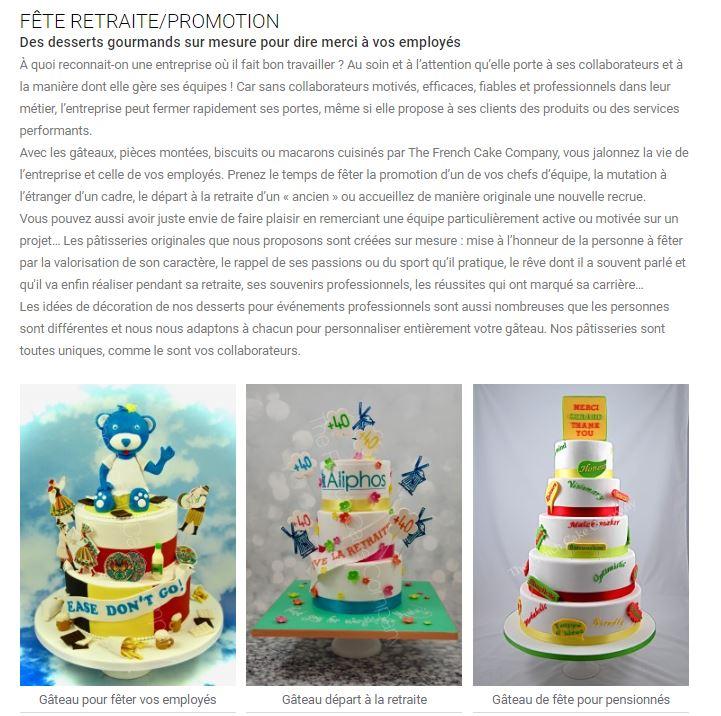 french cake company gâteaux retraite