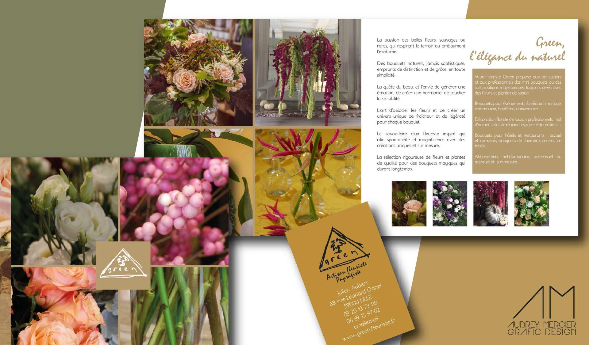 rédaction print plaquette fleuriste green lille