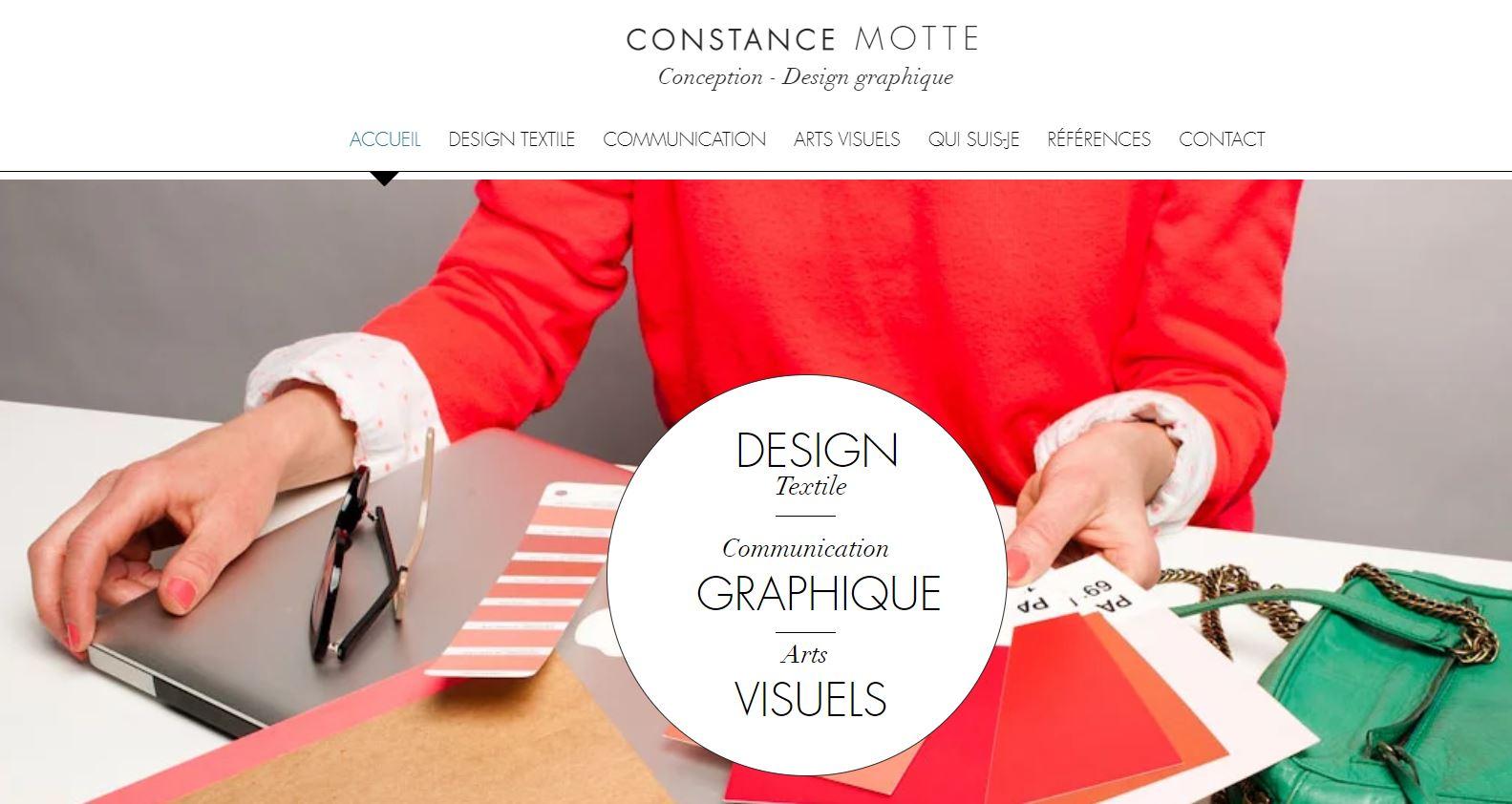 page accueil site constance motte conception design graphique